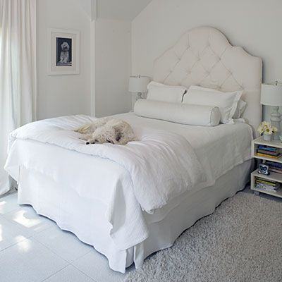White Out ~ all white bedding & decor, snow white, twinkle lights. inspiration: arctic meets shabby chic, heavenly, angels.