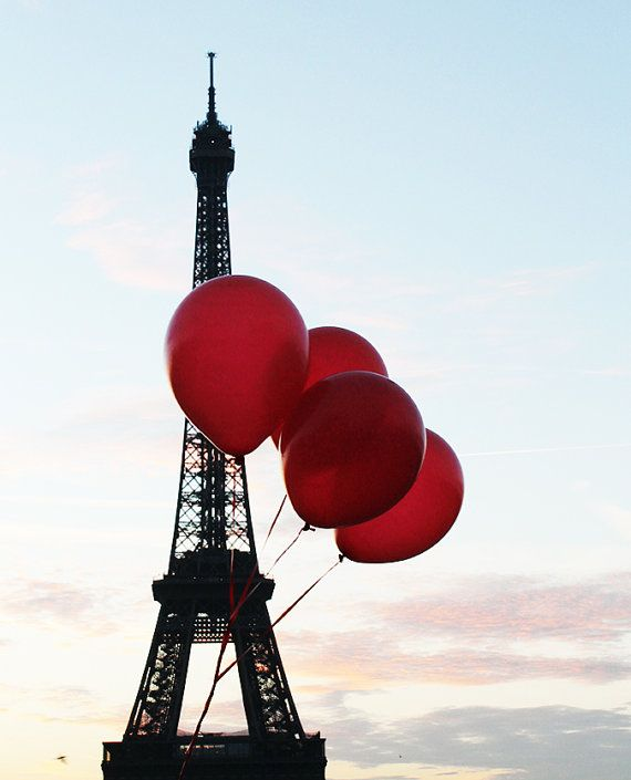 Red Balloons in Paris, Sunrise at the Eiffel Tower, Paris Photography, Autumn in Paris, French Home Decor, Red on Etsy, $30.00