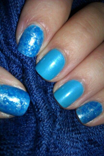 Blue and silver nails / Srebrno-niebieski marmurek #blue #silver #nails #nailart #srebrne #niebieskie #paznokcie #zdobienie