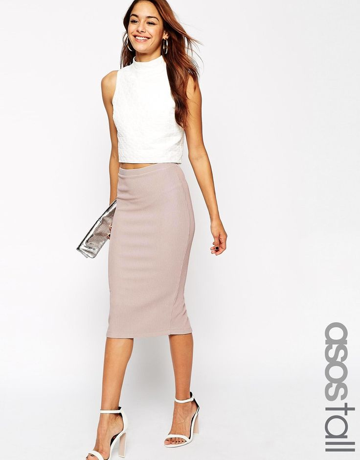 Image 1 of ASOS TALL Midi Pencil Skirt in Heavy Rib
