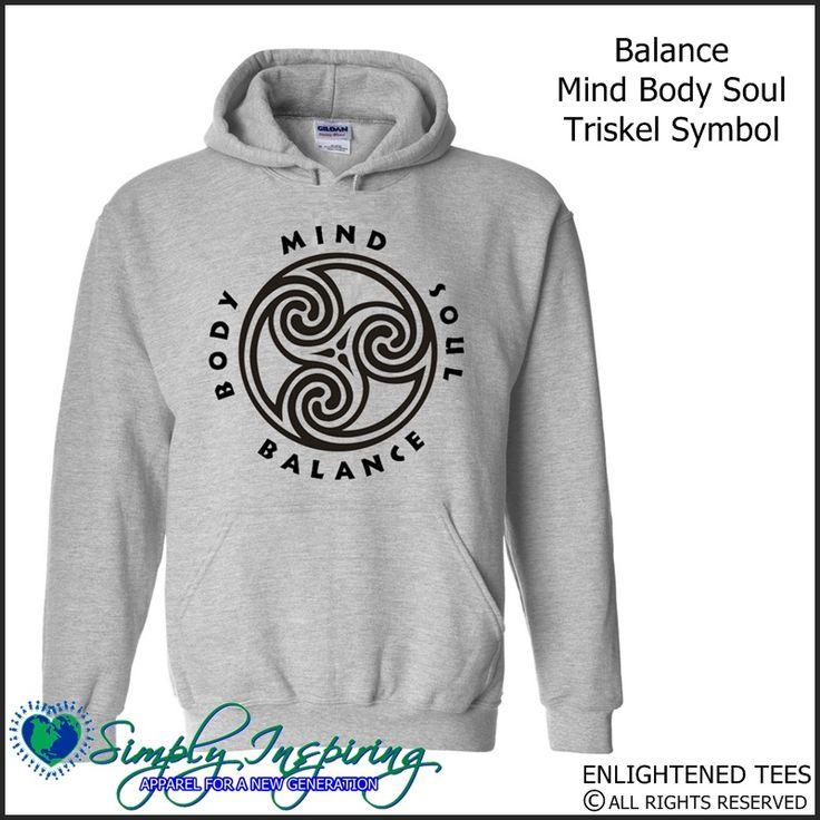 Balance Mind Body Soul Triskel Enlightenment New Age Hoody Sweatshirt grey
