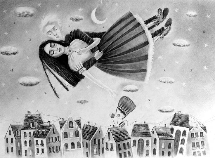 Night flight #drawing #illustration #fantasy #love