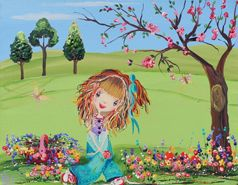 Just Enjoying the Day from my whimsical girls artworks by Peta E. More info about me at my website www.petae.com.au