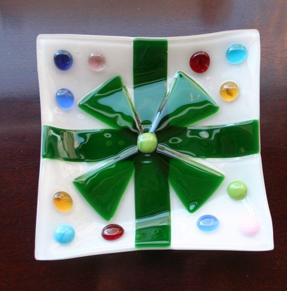 """Holidays gift, fused glass dish, white w green ribbon & bow, multi color accents in 6 1/2"""" square bowl for unusual serving or home decor"""