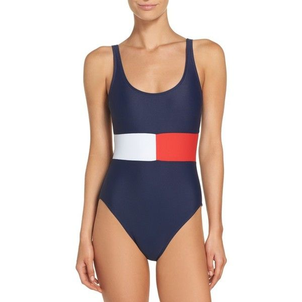 Women's Tommy Hilfiger Flag One-Piece Swimsuit ($92) ❤ liked on Polyvore featuring swimwear, one-piece swimsuits, core navy multi, tommy hilfiger swimsuit, color block swimsuit, slimming swimsuits and navy blue one piece swimsuit