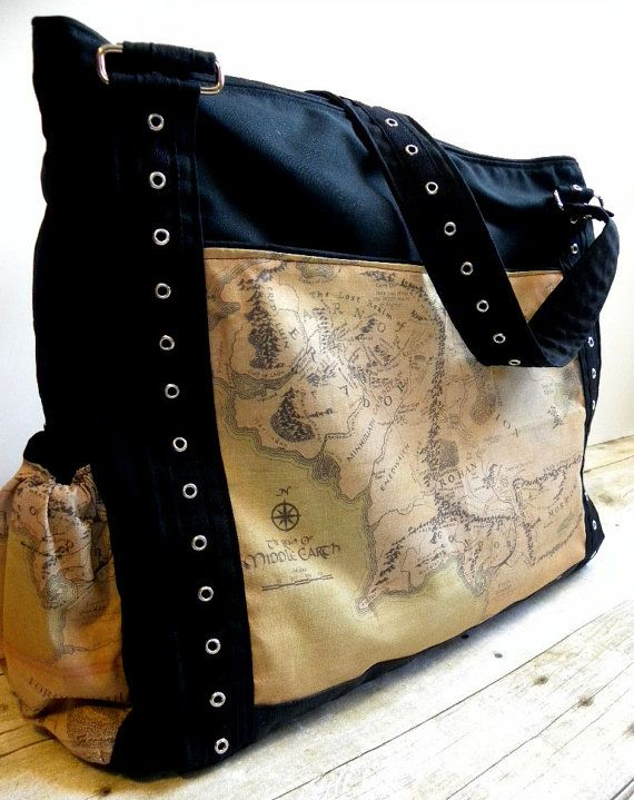 I LOVE THIS! She has all kinds of great diaper bags...can I have all of them PLEASE? Can't decide between LotR and Star Wars!!  CUSTOM Diaper Bag The Upsized Expedient by BrookeVanGoryDesigns