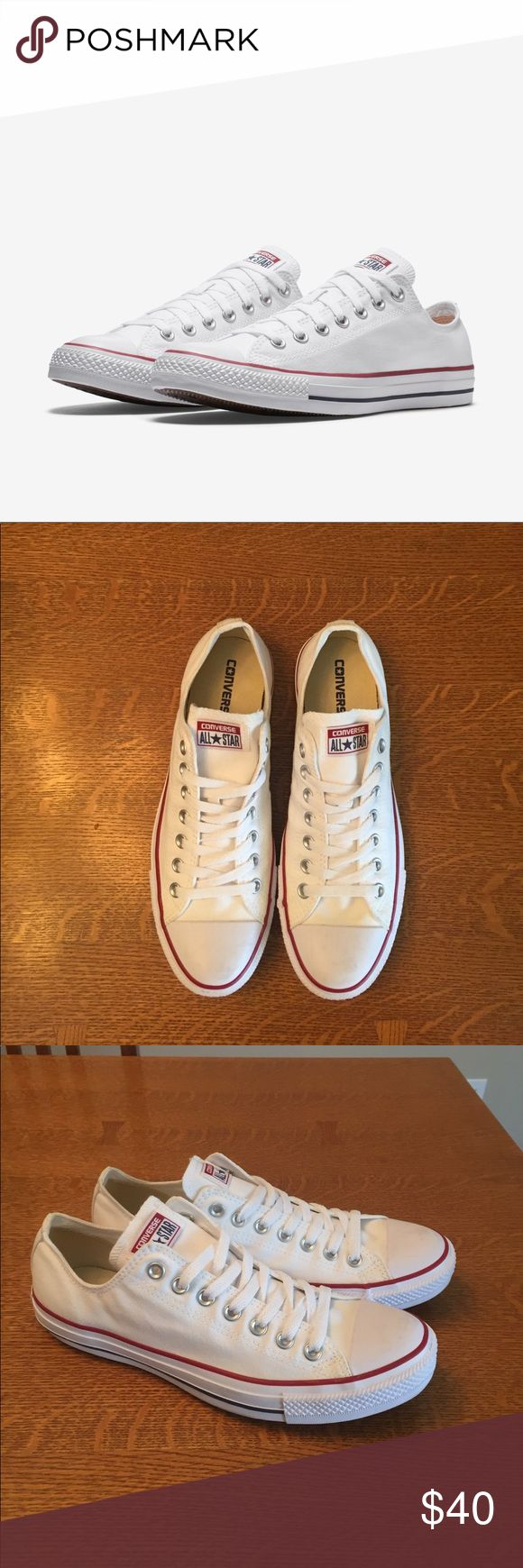 White converse Chuck Taylor All Star Only worn once! Great condition on these classic Chuck Taylor All Star converse lows! Great shoes in even better condition! Converse Shoes Sneakers