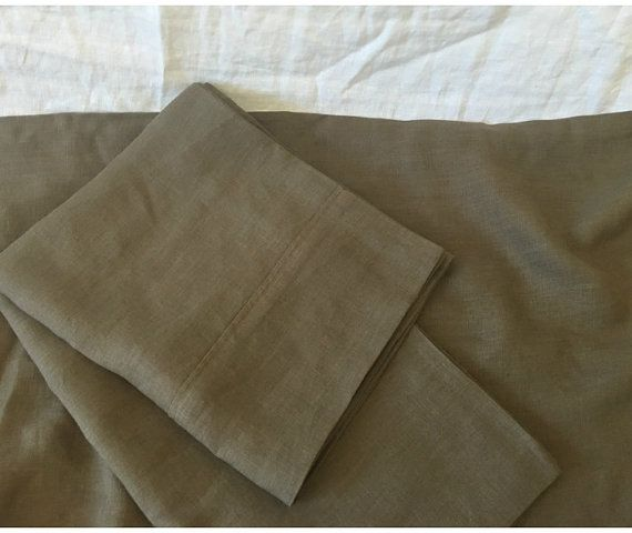Cedar Dark Brown Bed Sheets, Dark Brown Bed Linen, Natural Linen Bed Sheets, available in all sizes or custom size