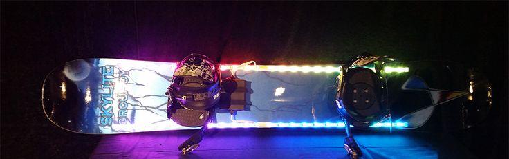 Skylite Group Oy custom made LED Snowboard on display in Helsinki International Exhibition Center.