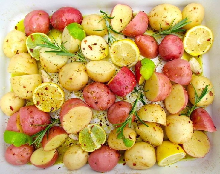 Roast New Potatoes with Chilli, Lime, Garlic and Rosemary