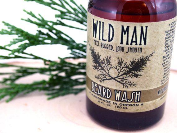 Beard Wash Natural Mens Beard Soap Wild Man 4oz by WildRoseHerbs, $19.95