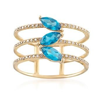 .80 ct. t.w. London blue topaz marquises brighten this trendy open style ring. Additionally, .15 ct. t.w. diamonds glitter on the three 14kt yellow gold bands. London blue topaz ring. Free shipping & easy 30-day returns. Fabulous jewelry. Great prices. Since 1952.