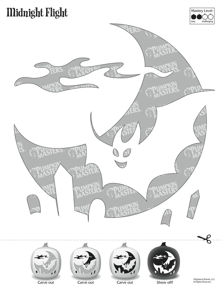 Pumpkin Masters carving tools and patterns are the perfect asset for carving novices and experts alike. To use this Midnight Flight pattern, click on the image and print the image that appears.