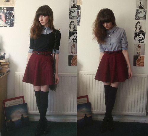 Skirt, stockings, shirt, sweater, belt.