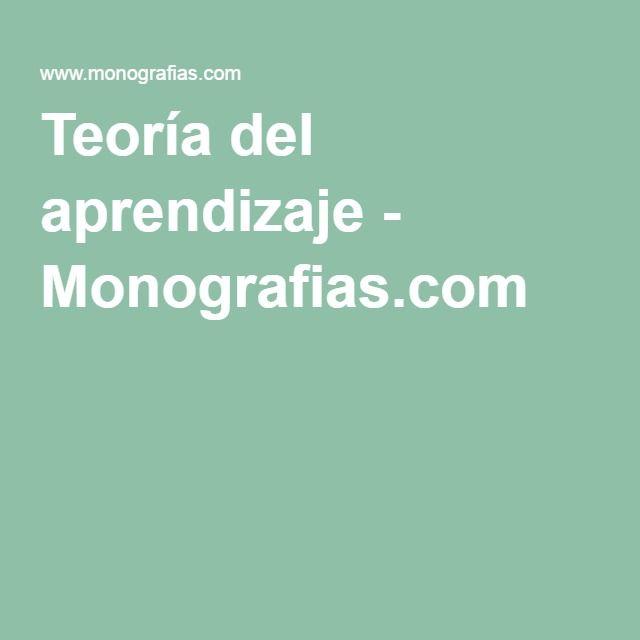 Teoría del aprendizaje - Monografias.com