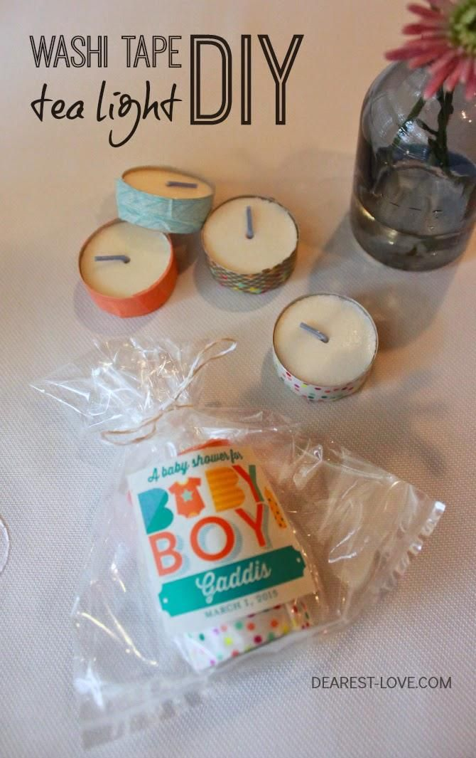 This DIY Washi Tape Tea Lights Baby Shower Theme Incorporated Gift Tag  Stickers From Tiny Prints