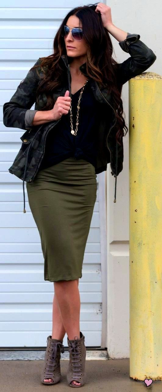 High Waist Skirt Military Jacket And Amazing Grey Heels