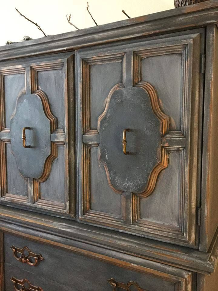 Updated gentleman's chest by Girl In Blue Designs using CeCe Caldwell's Chalk + Clay Paint in Vintage White,and Vermont Slate and CeCe's metallic wax in Bingham Copper Canyon. Perfectly layered and distressed.