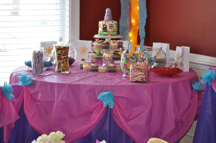 All table decor using plastic table covering. Skirts were done in ...