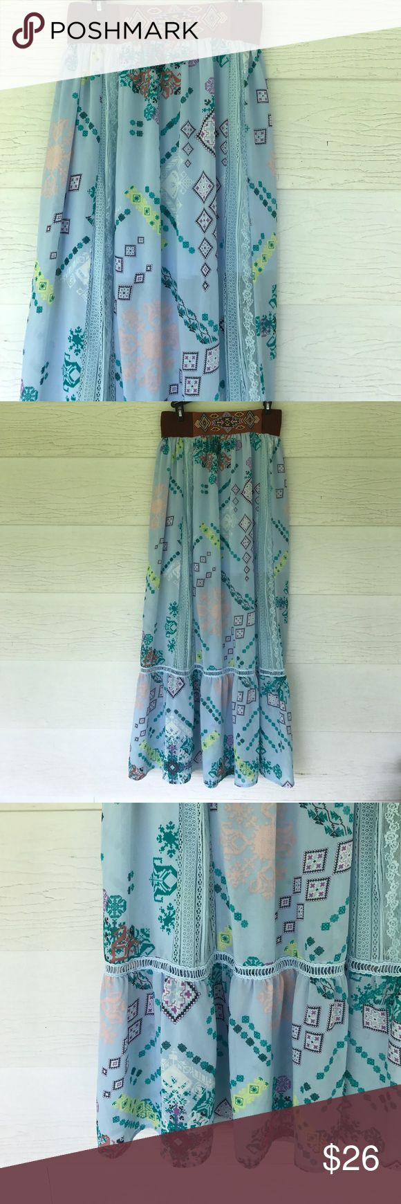 Boho skirt Size large. Blue boho skirt. Has brown elastic waistband. Lined to knee.  Perfect for festival season! kinnucans Skirts Maxi