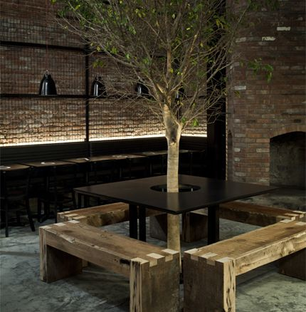 Tartinery Nolita | New York. Fantastic use of space without having to move mature trees.
