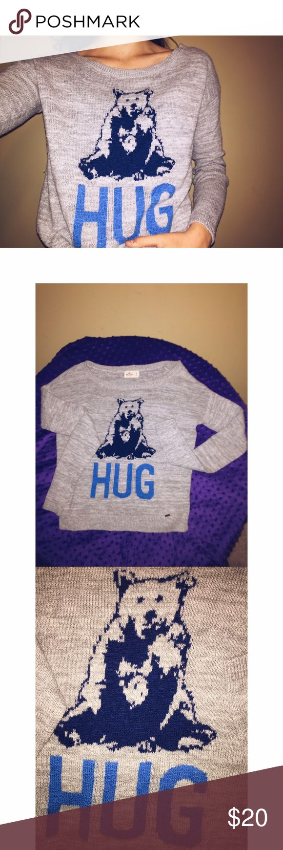 "Hollister sweater ""Bear Hug"" Good condition has a bear on the front with the word hug meaning ""bear hug"" from hollister size small Hollister Sweaters"