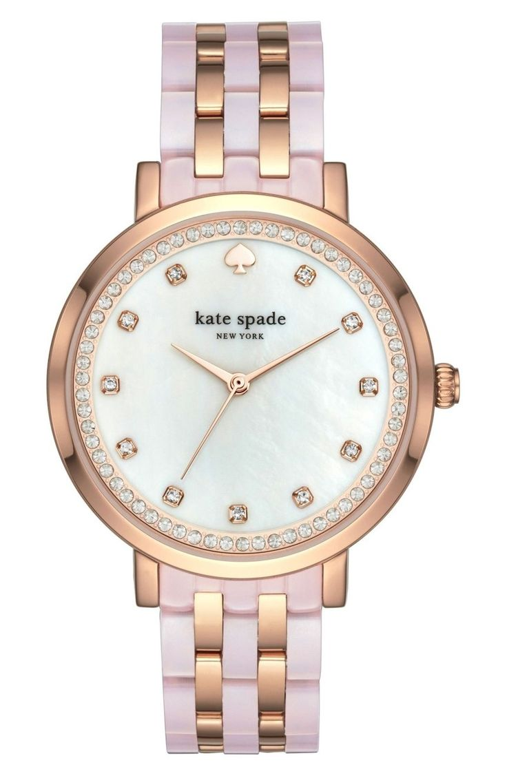 Swooning over this pink and rose gold watch by Kate Spade.