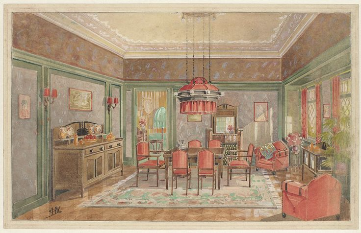 Monogrammist HK (Nederland, 20ste eeuw) | Eetkamer met rode stoelen, Monogrammist HK (Nederland, 20ste eeuw), c. 1925 |