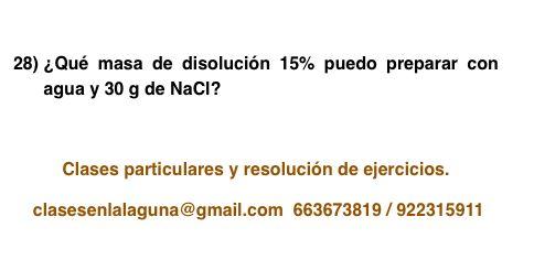 Ejercicio propuesto 28, porcentaje en masa (disoluciones)