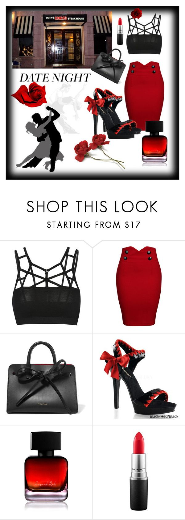 """""""Dinner and Dancing"""" by afinediime ❤ liked on Polyvore featuring Raton, WithChic, Mansur Gavriel, Salsa, Pleaser, The Collection by Phuong Dang, MAC Cosmetics, DateNight and summerdate"""