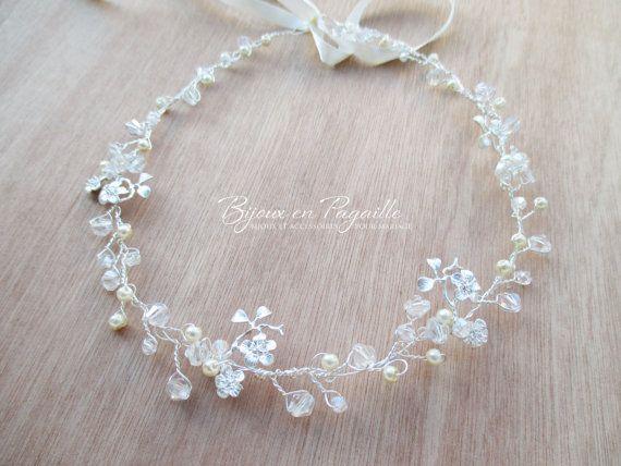 Hoofdband bruiloft  Pearly kralen en bladeren bloemen zilver
