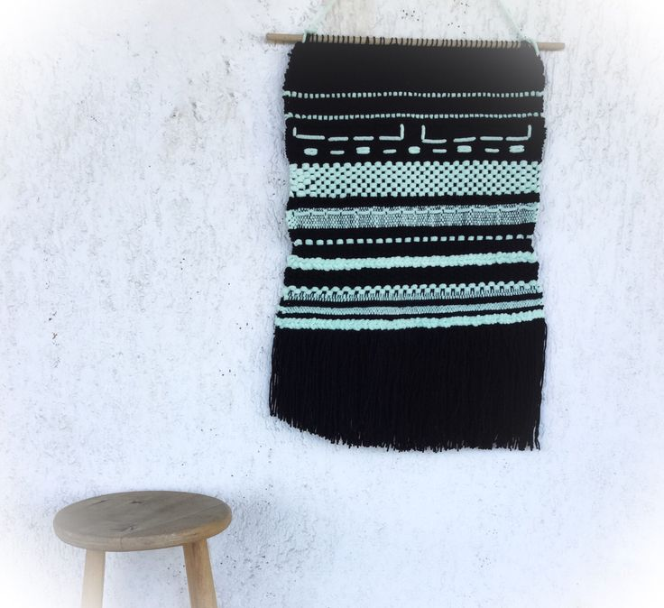 Weaving wall hanging. Black and mint green home decor. https://www.etsy.com/listing/493470426/weaving-weaving-wall-hanging-woven-wall