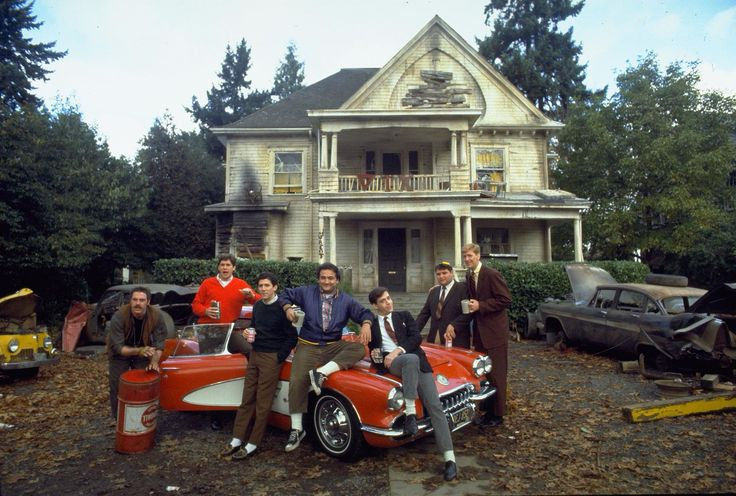 """National Lampoon's Animal House"" promo still, 1978.  L to R: Bruce McGill, Tim Matheson, Peter Riegert, John Belushi, Tom Hulce, Stephen Furst, James Widdoes.  More money was spent on advertising and promotion for ""Animal House"" than for the film itself.  But it paid off - earning $141 million dollars in the United States, in 2nd place behind ""Grease"" and beating out other films like ""Superman"", ""Halloween"", and ""Up In Smoke""."