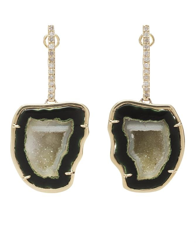 Kimberly McDonald 18k Gold and Geode Drop Earrings: Kimberly Mcdonald'S, Geode Drop, Drop Earrings, Fashion Style, Mcdonald'S 18K, Geode Earrings, Accessories, Earrings Discover, 18K Gold
