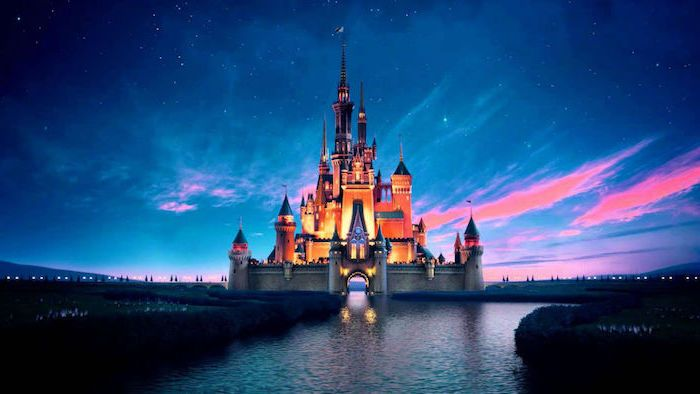 Disneey Castle Cute Background Pictures Starry Sky River Sunset In 2020 Disney Desktop Wallpaper Laptop Wallpaper Cute Backgrounds
