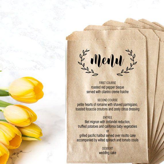 Personalized Wedding Menu Bag Stamp - Dinner Menu Bread Bag Stamp - Bridal Shower Menu - Custom Menu Place Setting - Rehearsal Dinner Menu by SouthernPaperAndInk