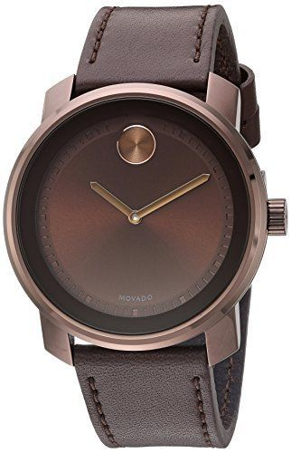 Great gift idea Movado Men's Swiss Quartz Stainless Steel and Leather Casual Watch, Color:Brown (Model: 3600377)