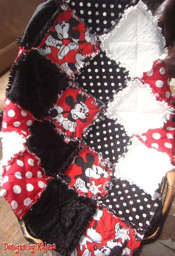 Mickey Mouse Baby Toddler Rag Quilt                              …