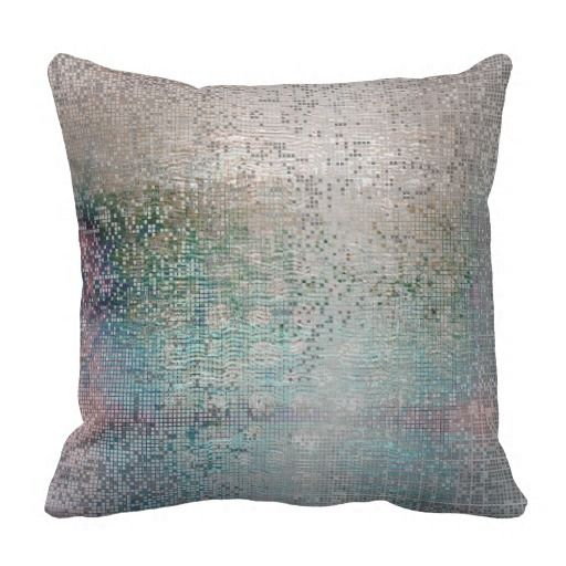 Abstract Decor Silver Teal Contemporary Metallic Throw Pillow