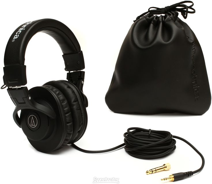 """Closed-back Circumaural Headphones with Collapsible Design, 40mm Neodymium Magnet Drivers, Straight Cable, 1/4"""" Adapter, and Carrying Pouch"""