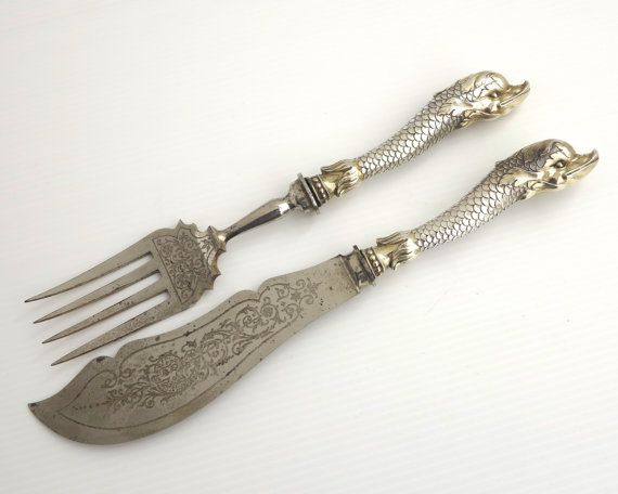 Pez antiguo sirve de cuchillo y tenedor 800 plata asas en