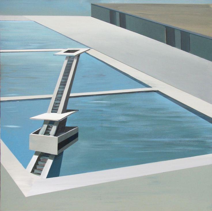 Kiesner Maria, Jump, acrylic on canvas, modern architecture, modernist architecture, architecture on paitning, modern art, polish art