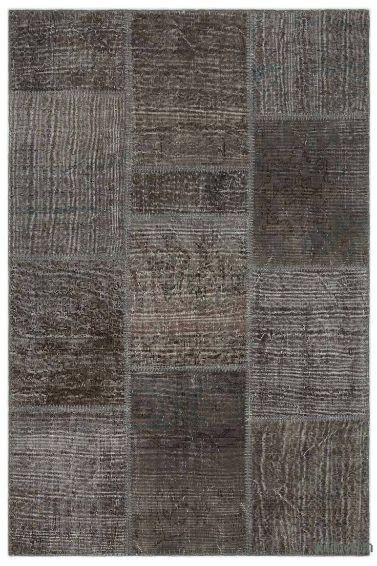K0026959 Grey Over-dyed Turkish Patchwork Rug | Kilim Rugs, Overdyed Vintage Rugs, Hand-made Turkish Rugs, Patchwork Carpets by Kilim.com