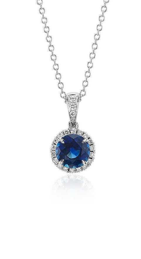 Sapphire and Micropavé Diamond Pendant   Your chance to win a $1000 gift card from #BlueNile!