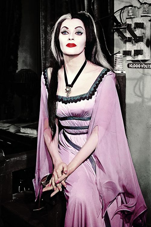 Yvonne De Carlo as Lily Munster c. 1960s   Pinning for the sleeve detail. Yes I know that the color version is pink but I refuse! It's white in my head cannon