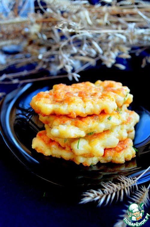 Кукурузные оладушки из кальмара и рыбы - кулинарный рецепт