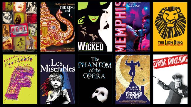 musical montage: Rent, the King and I, Wicked, Memphis,the Lion King, Footloose, Les Miserables, Phantom of the Opera, Fiddler on the Roof, & Spring Awakening