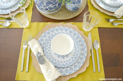 Eclectic Dining Room Table Setting Pineapple Napkin Ring Blue White Mediterranean Dishes Wood Charger
