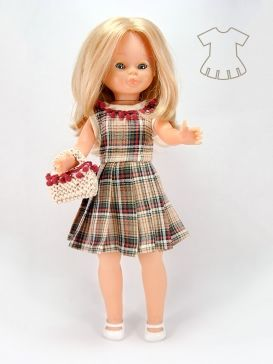 Vestido escocés con bolso detalles escarlatas