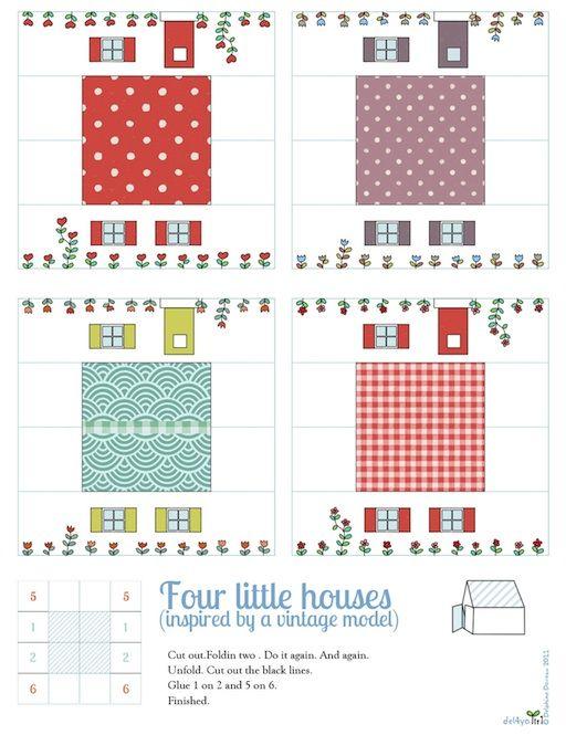 FREE printable 4 miniature houses